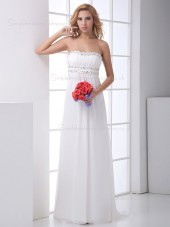Ivory Sleeveless Rhinestone Sweep Column / Sheath Bateau Chiffon Wedding Dress