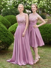 Budget Beautiful Appliques Scoop Neck A Line Long Bridesmaid Dress