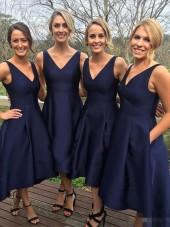 Girls Simple V-Neck A-Line High Low Bridesmaid Dress