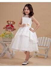 Sleeveless Scoop Tea Length Satin/Organza Zipper Applique Ivory Ball Gown Flower Girl Dress
