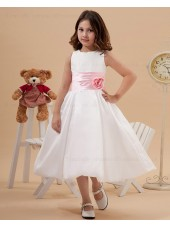 Zipper Sleeveless Ivory Square Tea Length A line Taffeta Belt/Hand Made Flower/Bow Flower Girl Dress