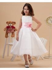 Zipper Sleeveless Ivory Square Tea Length A line Taffeta Belt/Hand Made Flower/Bow Flower Girl Dress