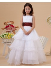 A line Zipper Floor length Belt/Ruffles Ivory Organza Square Sleeveless Flower Girl Dress