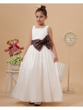 Square Ivory Belt/Bow Sleeveless Ankle Length Zipper A line Taffeta Flower Girl Dress