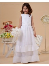 A line Sleeveless Organza/Satin Scoop Ivory Floor length Zipper Sash/Bow Flower Girl Dress