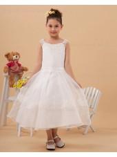 White Ankle Length A line Sleeveless Applique Zipper Bateau Chiffon/Organza Flower Girl Dress