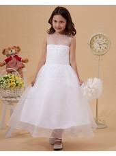 Ankle Length Chiffon/Organza A line Ruffle White Sleeveless Scoop Zipper Flower Girl Dress