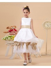 A line Ankle Length Sleeveless Satin/Lace Scoop Sash/Bow/Lace White/Champagne Zipper Flower Girl Dress
