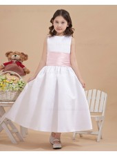 Scoop Ankle Length White Zipper Sleeveless Satin Bow/Belt A line Flower Girl Dress