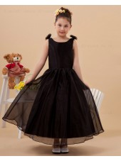 Bateau A line Satin/Organza Sleeveless Dark Zipper Coffee Ankle Length Bow/Hand Made Flower Flower Girl Dress