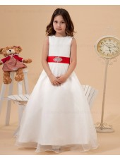 Zipper Satin/Organza Sleeveless Belt/Beading/Bow A line Floor length Scoop Ivory Flower Girl Dress