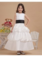 Sleeveless A line Belt/Ruffles Organza/Satin Bateau Zipper Ivory Hand Made Flower/ Ankle Length Flower Girl Dress