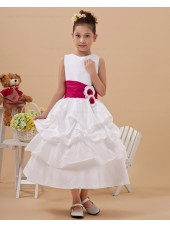 Ankle Length Scoop White Sleeveless Zipper A line Ruffles/Hand Made Flower Satin Flower Girl Dress