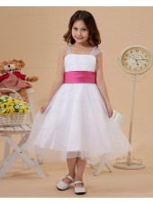 Square Sleeveless Ruffle/Belt Zipper A line Organza White Tea Length Flower Girl Dress