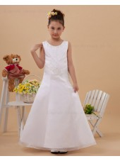 Floor length Beading A line Sleeveless Zipper Scoop Satin Ivory Flower Girl Dress