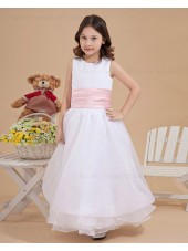 A line Ankle Length Scoop Chiffon/Organza Sleeveless Ivory Zipper Sash Flower Girl Dress