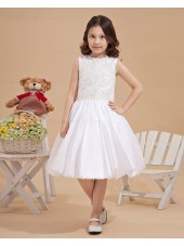 Bateau Ivory A line Zipper Applique/Beading Taffeta Sleeveless Knee length Flower Girl Dress
