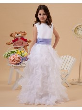 Scoop Column/Sheath Ivory Floor length Zipper Belt Sleeveless Satin/Organza Flower Girl Dress
