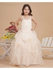 Spaghetti Straps Hand Made Flower/ Ball Gown Zipper Ivory Bow Sleeveless Organza Floor length Flower Girl Dress