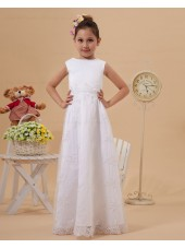 Sleeve Floor length Short Satin/Lace Embroidery Zipper Ivory Scoop A line Flower Girl Dress