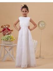 Sleeve Floor length Short Satin/Lace Embroidery Zipper Ivory Scoop A line Flower Girl Dress
