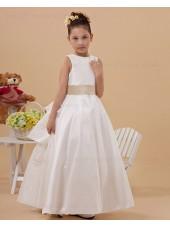 A line Ankle Length Belt Satin Lace Up White Sleeveless Scoop Flower Girl Dress