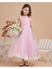 Ankle Length Sleeveless Ruffle/Applique/Bow A line Pink Zipper Satin/Tulle Scoop Flower Girl Dress