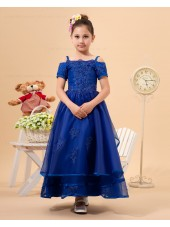 Blue A line Floor length Zipper Organza Spaghetti Straps Applique/Beading Sleeveless Flower Girl Dress