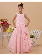 A line Spaghetti Straps Pink Floor length Sleeveless Taffeta Zipper Ruffle/Hand Made Flower Flower Girl Dress
