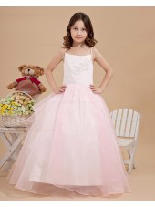 White/Pink Zipper Sleeveless Spaghetti Straps Ball Gown Floor length Taffeta/Organza Applique/Beading Flower Girl Dress