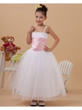 Spaghetti Straps Zipper Sleeveless White Ball Gown Floor length Ruffle Taffeta/Organza Flower Girl Dress