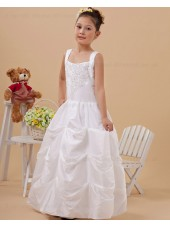 A line Zipper Ivory Beading/Applique Floor length Square Sleeveless Taffeta Flower Girl Dress