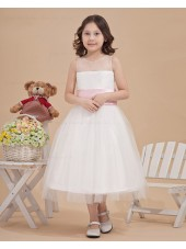 A line Sleeveless Belt Ankle Length Organza/Satin White Bateau Zipper Flower Girl Dress