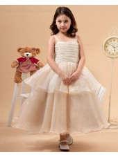A line Spaghetti Straps Sleeveless Champagne Zipper Bow/Ruffles Tulle Ankle Length Flower Girl Dress