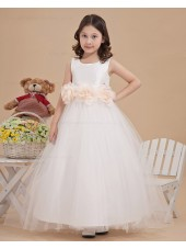 Sleeveless Hand Made Flower Zipper A line Satin/Tulle Floor length Scoop White Flower Girl Dress