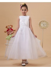 Sleeveless Applique/Beading Ivory Zipper Scoop Chiffon/Tulle Ankle Length A line Flower Girl Dress