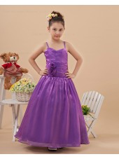 Taffeta Purple Ruffles/Beading/Hand Made Flower Zipper A line Floor length Sleeveless Spaghetti Straps Flower Girl Dress