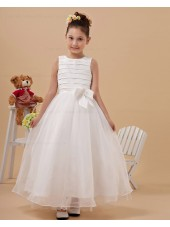 Ivory Scoop Sleeveless Ankle Length A line Organza Bow Zipper Hand Made Flower/ Flower Girl Dress