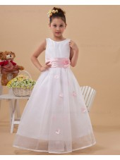 Hand Made Flower/ Ball Gown Zipper White/Pink Belt Scoop Floor length Sleeveless Taffeta/Organza Flower Girl Dress