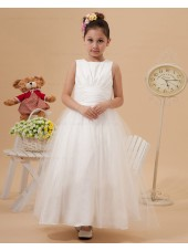 Scoop A line Zipper Taffeta/Organza Belt/Bow Ankle Length Sleeveless Ivory Flower Girl Dress