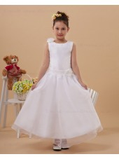 White Zipper Scoop Ankle Length Satin/Organza Sleeveless Belt Ball Gown Hand Made Flower/ Flower Girl Dress