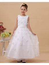 Zipper Satin/Tulle Scoop A line White Sleeveless Belt/Hand Made Flower Floor length Flower Girl Dress