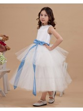 A line Zipper Beading White Bateau Sleeveless Ankle Length Satin/Organza Flower Girl Dress