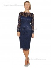Dark Navy Column / Sheath Knee-length Lace Bateau Backless Natural Long-Sleeve Lace Mother of the Bride Dress