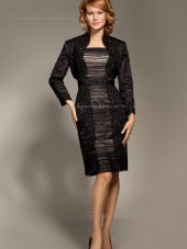 Black Knee-length Long-Sleeve Tulle Empire Column / Sheath Zipper Crystal Bateau Mother of the Bride Dress