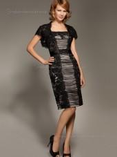 Black Bateau Column / Sheath Knee-length Tulle Cap Sleeve Zipper Crystal Empire Mother of the Bride Dress