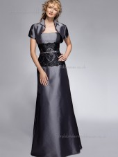 Silver Bateau Satin Lace A-line Zipper Cap Sleeve Floor-length Natural Mother of the Bride Dress