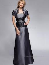 Silver Bateau Satin Lace A-line Zipper Cap Sleeve Floor-length Natural Mother of the Bride Dress
