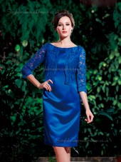 Royal Blue Knee-length Applique Natural Column / Sheath Half-Sleeve Satin Zipper Bateau Mother of the Bride Dress