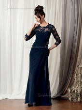 Dark Navy Floor-length Round Column / Sheath Backless Long-Sleeve Lace Natural Satin Mother of the Bride Dress